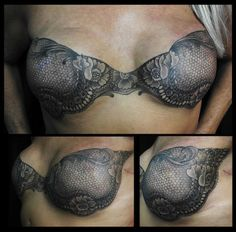 "Gorgeous post-mastectomy ""bra"" tattoo, great idea if you don't want nipple reconstruction or it doesn't take!"