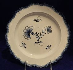 Antique English Ceramic Pearlware Pottery Blue feather-edge plate, c1790-1800 #England