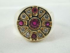 RETRO RUBY 0.33CTS & DIAMOND 0.40CTS TARGET CLUSTER RING 14CT GOLD SIZE Q
