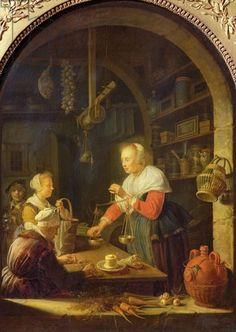 The Village Grocer, 1647 (oil on panel) Gerrit or Gerard Dou (1613-75)