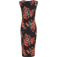 """Paraphrase"" Black Floral Jacquard Sheath Dress - TK Maxx"