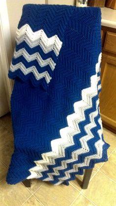 Chevron Crochet Dallas Cowboys Colored Afghan by HooksOfLove on Etsy.com