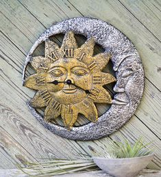 Sun And Moon Face Outdoor Clock
