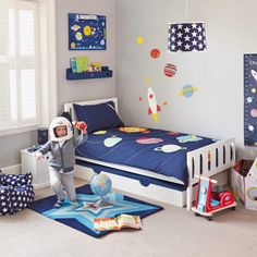 Use navy stars and our Galaxy bedding to inspire great adventures. The power of imagination put a man on the moon, let's hope it can keep our children in bed.