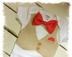 coral paisley vest and ties | Boys Coral BOW TIE BODYSUIT with Linen Vest-Vest Bodysuit with Bow Tie ...