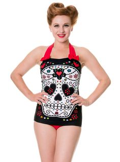 """Women's """"Sugar Skull"""" Swimsuit by Banned Apparel (Red)    #inkedshop #graphictee #fashion #top #art"""