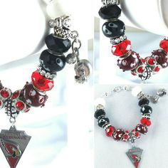 Do you have your NFL gear? Charm Bracelets On Sale Now! Arizona Cardinals Check out this item in my Etsy shop https://www.etsy.com/listing/264422150/nfl-arizona-cardinals-lampwork-glass-and