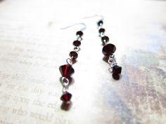 Swarovski Crystal Garnet Dark Red Earrings by CrownJewelsGoddess