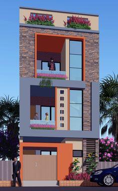 Dawar Siddiqui 3 Storey House Design, House Front Design, Small House Design, Modern House Design, 2bhk House Plan, Dream House Plans, Front Elevation Designs, House Elevation, 20x40 House Plans