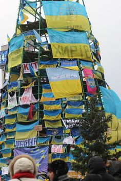 The Christmas tree in the protests in Kyiv, Ukraine.