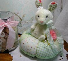 ooak green bunny pincushion by LittleBearPaws on Etsy, $39.50