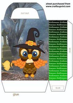 Halloween owl gift bag,you will need to print 2 sheets to make gift bag