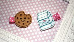 Boutique Milk and Cookies Pink felt hair clip SET by MadEli, $5.50