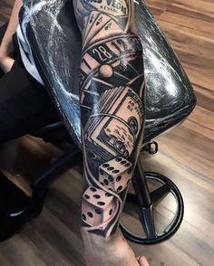 Poker Tattoos, Arm Tattoos, Chest Piece Tattoos, Pieces Tattoo, Might Have, Tattoo Photos, Nostalgia, Tattoo Designs, Arms