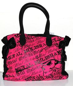 "Pink Metal Mulisha | Metal Mulisha "" Sweet Dreams"" Dual Handle Tote Purse Pink and Black ..."