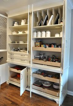 great for cabinets on side of kitchen -- store small appliances in.  Put drawers instead of doors on the bottom.