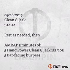 Post loads for the singles & rounds for the workout. Scale as needed. #BrutallyElegant #CrossFitLinchpin #CrossFit