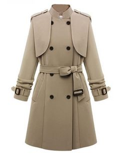 Plain Breasted Awesome Band Collar Overcoats