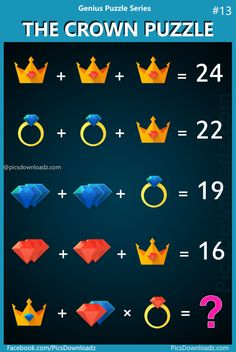 """Tough and Hard Genius Math logic Puzzle problem! of people will fail to answer this difficult logical brain teaser math puzzle. """"The Crown Puzzle"""" Most interesting and confusing logic puzzle… Difficult Puzzles, Hard Puzzles, Puzzles For Kids, Math Riddles With Answers, Brain Teasers With Answers, Puzzles And Answers, Fun Math, Math Games, Logic Games"""