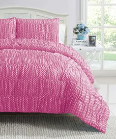 Take a look at this Pink Polka Dot Ruched Reversible Comforter Set by Victoria Classics on #zulily today!