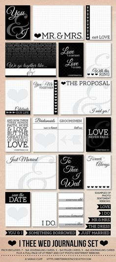 I Thee Wed: Modern Wedding Project Life Journaling Card Set with Sentiment Cut Outs for Photos on Etsy