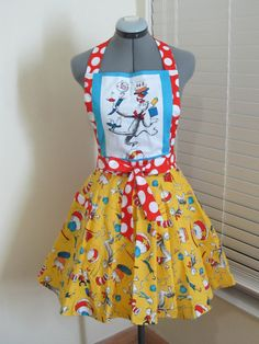 The Cat in the Hat Apron  Birthday Party Funky by AquamarCouture, $46.99