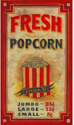 """Inspired by old-time move house signs, """"Popcorn"""" Wood Wall Art features a nostalgic design printed directly on a distressed wood panel. Movie Theater Rooms, Home Theater, Cinema Room, Vintage Movie Theater, Movie Rooms, Tv Rooms, Game Rooms, Vintage Advertisements, Vintage Ads"""
