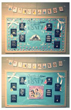 """""""April Bulletin Board! """"Pieces of Wisdom We Learned from Disney"""" My girls finished the puzzle the first day I had it up. #proudmomma"""""""