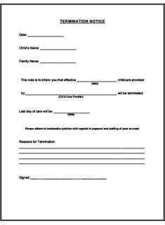 termination notice printable for child care childcarebusiness