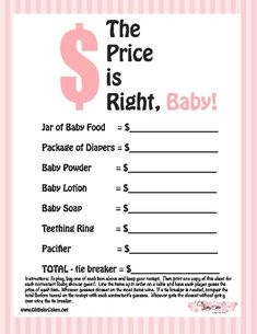 Baby shower game idea! Get the averages from Walmart Target and Price Chopper.