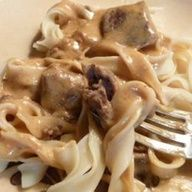 1/5/13 - Slow Cooker Beef Stroganoff with Stew Meat - throw stew meat, cream of mushroom soup, water, onion and Worcestershire sauce in crock pot, stir in cream cheese at the end. I used sour cream instead of cream cheese and it was great! Very easy recipe and i always have the ingredients on hand.