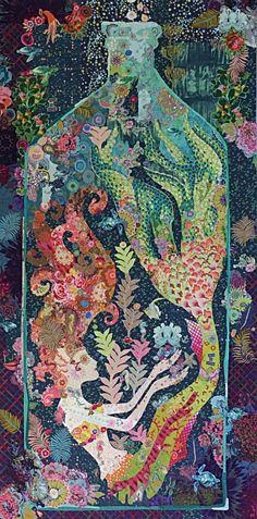 """""""Sirene"""" mermaid in a bottle collage by Laura Heine Fiberworks-heine.com"""