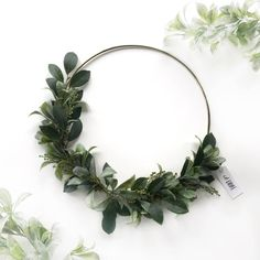 Greenery Wreath- Modern Wreath- Greenery Wall Hanging - Hoop Wreath- Nursery Wall Decor- Door Wreath