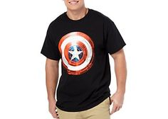 Show off your superhero spirit in this Captain America T-Shirt. The front of this Tee features a Captain America shield design.