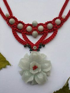 Red macrame flower necklace using white agate and water jade..very gorgeous..