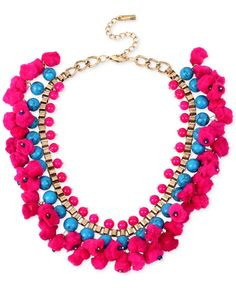 I designed this one! M. Haskell for Inc Gold-Tone Blue Bead and Pom-Pom Collar Necklace, Only at Macy's