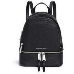 Michael Kors 'Rhea' small leather backpack (1.510 RON) ❤ liked on Polyvore featuring bags, backpacks, black, rucksack bag, leather backpack, leather knapsack, leather backpack bag and genuine leather backpack