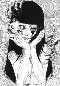 Dark Art Illustrations, Dark Art Drawings, Illustration Art, Gothic Drawings, Japanese Horror, Japanese Art, Japanese Graphic Design, Junji Ito, Arte Obscura
