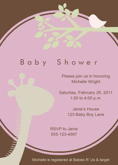 Dragonfly baby shower invitations in pink green baby shower mod giraffe baby shower invitation perfectcardssy filmwisefo Images