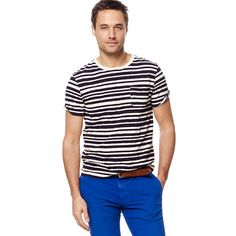 Slub jersey pocket tee in skipper stripe.