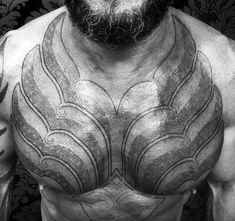 Male Battle Armor Tattoo On Chest