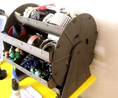 industrial way to store jewelry and belts