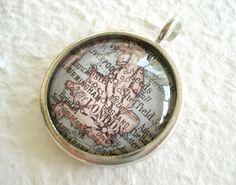 World Traveler Map Necklace - London, England
