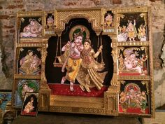 Over two decades ago, when I had my first baby, my mother gifted me a gorgeous Tanjore painting, depicting the beautiful Bal Gopal (infant Krishna) and his adoring mother. Ganesha Painting, Tanjore Painting, Mysore Painting, Indian Folk Art, Indian Ethnic, Art N Craft, God Pictures, Traditional Paintings, Indian Gods