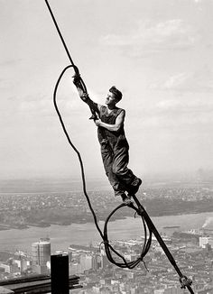 LewisHine-Icarusatop Empire State Building, 1931 (via Lewis Hine)