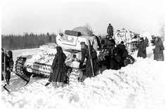The Eastern Front: Barbarossa. Stalingrad. December 1941. A German tank stuck in the Russian snow.