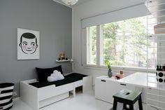 Scandinavian modern black and white interior design – toptrendpin. Black And White Interior, White Interior Design, Teenage Room, Boys Bedroom Decor, Bedroom Black, Deck Design, Scandinavian Modern, Boy Room, Furniture