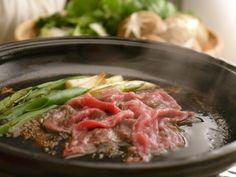 Sukiyaki: First, eat grilled Beef and Negi.