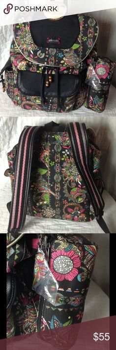 NWT SakRoots Artist Circle Campus Owl Backpack Adorable black backpack with zentangle style owl and floral Peace print with bright colors.  Cinch side pockets, generous front magnetic closure pocket. Top cinches closed and has two magnetic closures, but there is also a rear zipper for easy access to laptop.  Interior  has one zipper pocket and two pockets with elastic.  Charming embroidery on adjustable straps.  Includes matching pencil case and owl key chain or backpack/purse charm. Paid…