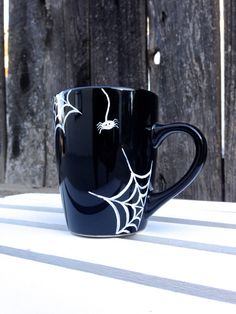 Spider Web Halloween Mug Hand Painted Black by STITCHandCABOODLE, $14.00